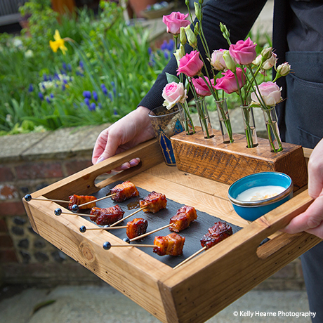 A close up of delicious canapes served at Upwaltham Barns weddings – wedding food