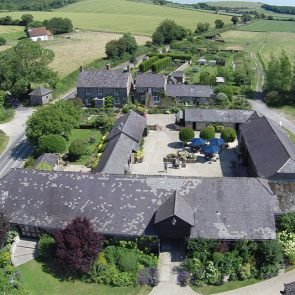 An aerial shot of Upwaltham Barns wedding venue in Sussex