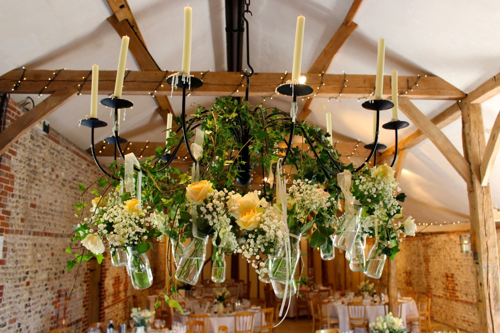 Hanging Wedding Flowers At Upwaltham Barns