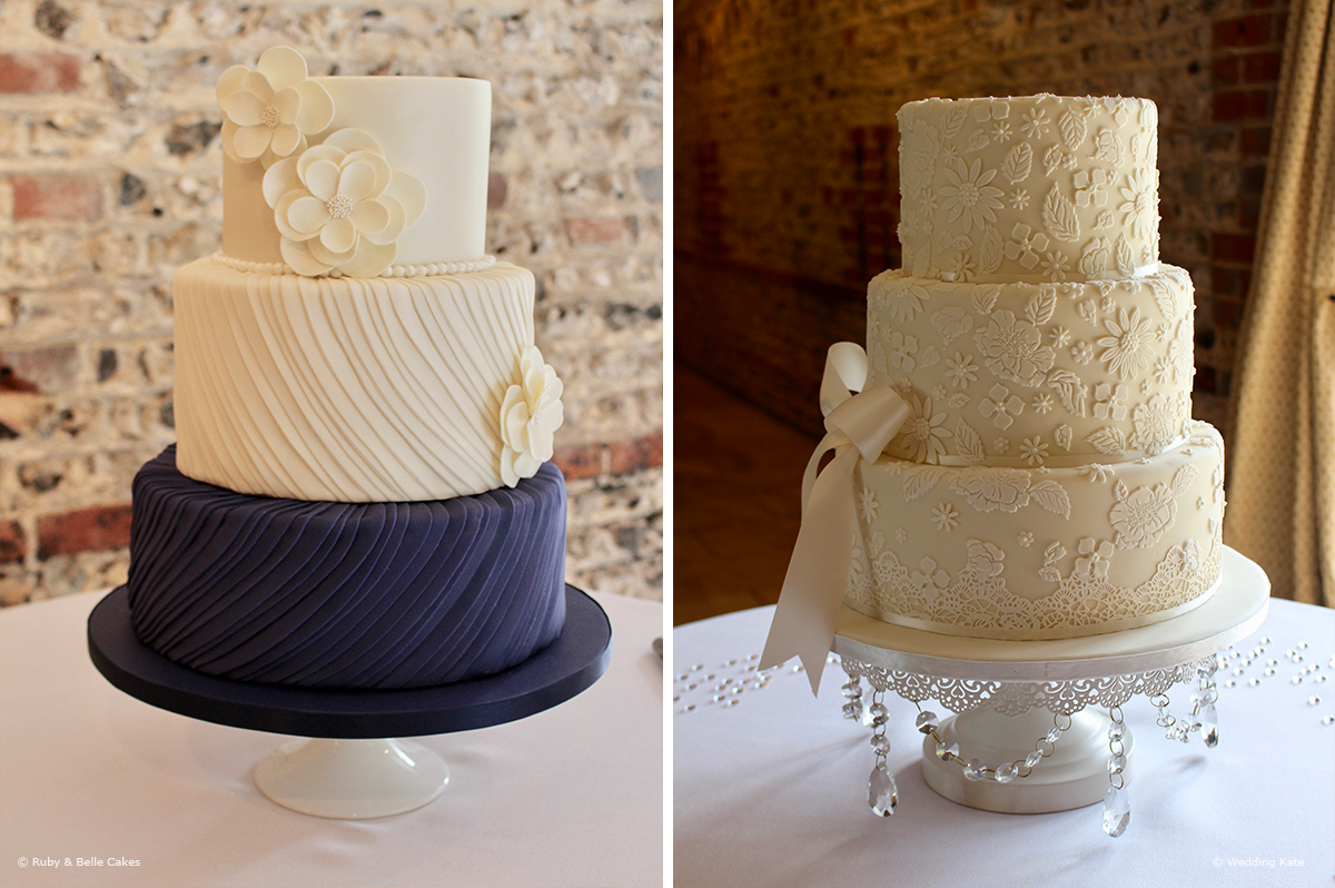 Navy And White Wedding Cake With Small Floral Accents