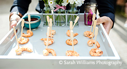 A close up of some tasty prawn wedding canapes at Upwaltham Barns in Sussex
