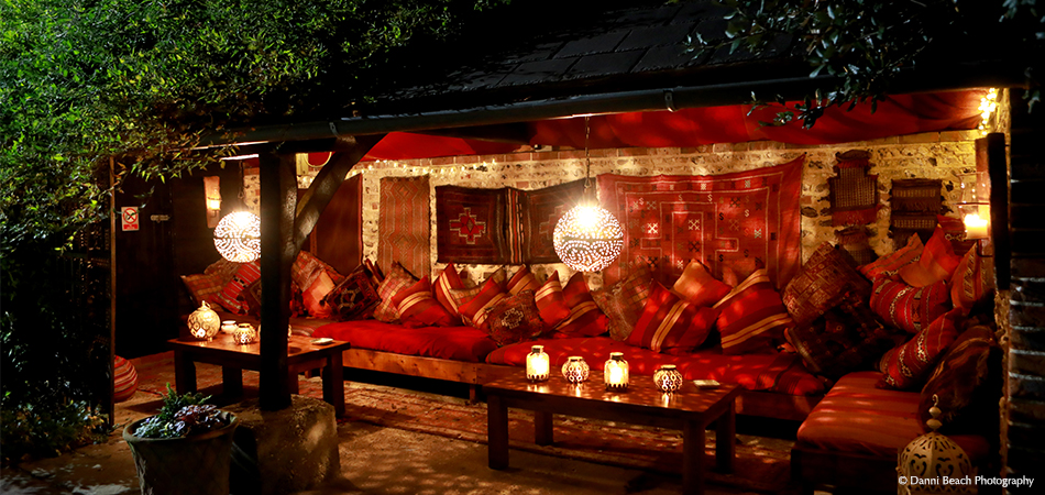 Spend some time in the romantic Moroccan Snug hidden in the Courtyard