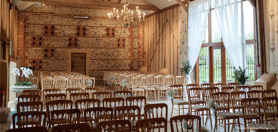The beautiful wedding ceremony barn at Upwaltham Barns in Sussex