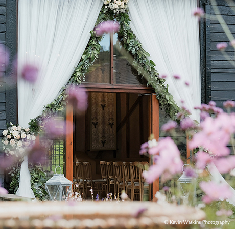 Wedding photo opportunities are aplenty with the beautiful entrance to the East Barn