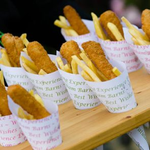 Upwaltham Barns showcased canapes of fish and chip cones at the wedding experience evening for bride and grooms to be