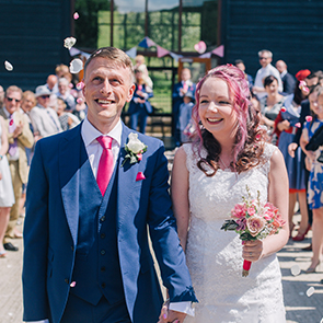 Chloe and Tom's real life wedding at Upwaltham Barns