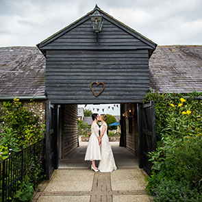 Emma and Lucy upwaltham barn wedding