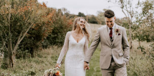 Autumn Bride and Groom Upwaltham Barn