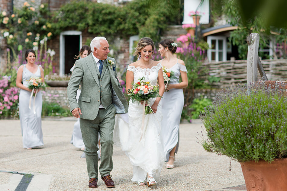 bride and father Upwaltham barns