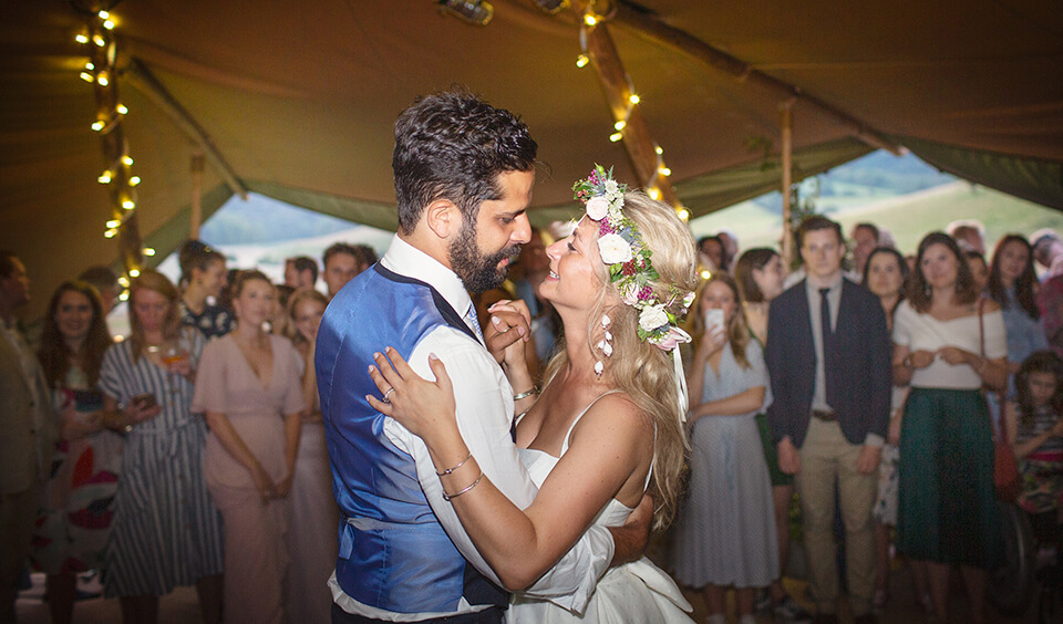 Couple's first dance at Upwaltham Barns